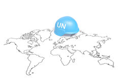 International Day of United Nations Peacekeepers or United Nations Day. Blue helmet with UN sign on the world map as symbol of United Nations Peacekeepers and Stock Photos