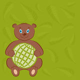 International Day for Wildlife and the World Animal Day poster. Cute brown bear with a symbol of the globe. Palm leaves on the bac Royalty Free Stock Images