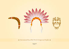International Day of the World's Indigenous Peoples vector. Vector illustration symbols of indigenous people. Important day Stock Photos