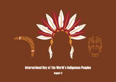 International Day of the World`s Indigenous Peoples vector. Symbols of indigenous people. Indian headband icon. Important day Royalty Free Stock Images