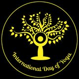 International Day of Yoga. The figure of a man in a yoga asana is sitting against the background of the Bodhi tree. International Day of Yoga. The stylized Royalty Free Stock Photos