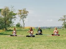 International day of yoga, summer time. Dream team. stock photos