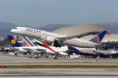 International de Los Angeles d'avion d'United Airlines Boeing 787-9 Photos libres de droits