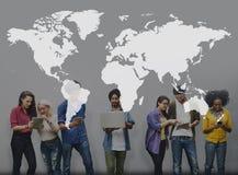 International de tierra global de la globalización de la cartografía del mundo Conce fotos de archivo