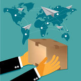 International delivery concept in flat design, vector Royalty Free Stock Photo