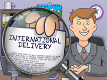 International Delivery through Lens. Doodle Style. International Delivery. Successful Businessman Sitting in Offiice and Showing Paper with Inscription through Stock Image