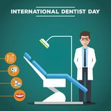 International Dentist Day, March. Dentist standing with dental chair conceptual illustration vector Royalty Free Stock Photos