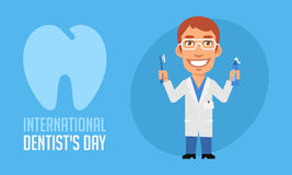 International Dentists Day Dentist Holding Toothpaste and Toothb Stock Images