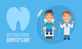 International Dentists Day Dentist and Patient in Armchair Royalty Free Stock Photography