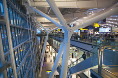 International departure hall. Interior of  Heathrow airport Terminal 5. New building Royalty Free Stock Photography