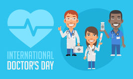 International Doctors Day Group Doctors With Different Objects. Vector Illustration. Mascot Character stock illustration