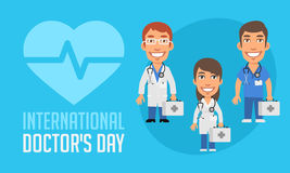 International Doctors Day Group Doctors Holding Suitcase. Vector Illustration. Mascot Character royalty free illustration