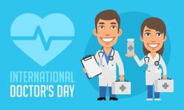 International Doctors Day Man and Woman Doctors. Vector Illustration. Mascot Character vector illustration