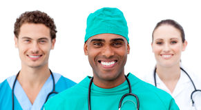 International doctors standing in a row Royalty Free Stock Photography