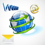 International e-mailing. Easy to edit vector illustration of email around globe royalty free illustration