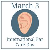 International Ear Care Day. March holiday calendar. March 3. Ear sketch. Health care vector illustration. Medical poster design. vector illustration