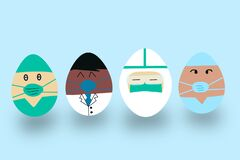 International Easter egg in hospital medical specialists role: doctor, surgeon, physician, paramedic, nurse and other staff.fighti