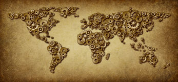 International Economy Old Map. International economy old grunge map of world business connections on a global networking scale with gears and cogs in the shape Stock Photography