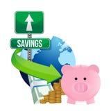 International economy savings concept. Illustration design over a white background Royalty Free Stock Photo