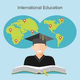 International education flat design illustrator. Stock Image
