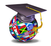 International education with graduation cap Royalty Free Stock Image