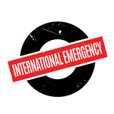 International Emergency rubber stamp. Grunge design with dust scratches. Effects can be easily removed for a clean, crisp look. Color is easily changed Stock Photo