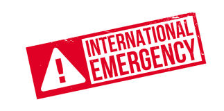 International Emergency rubber stamp. Grunge design with dust scratches. Effects can be easily removed for a clean, crisp look. Color is easily changed Royalty Free Stock Photo