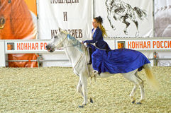 International Equestrian Exhibition During the show. Woman jockey in a dark blue dress on a white horse. Stock Photography