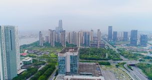 International exhibition Canton Fair. Aerial view. China Import and Export Fair view from the top, the general plan. Pazhou Exhibition Complex. Flight over the stock footage