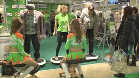 International exhibition. Trainers American company US MEDICA on International exhibition HEALTHY LIFESTYLE 2013 on December 26, 2013 in Moscow stock footage