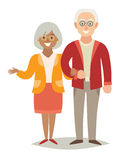 International family. Pensioner happy family. Old european man and old african-american woman couple. Stock Photo