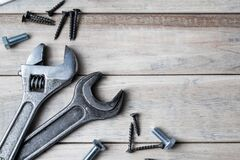Free International Father`s Day. Greeting Card. Work Tools On A Gray Wooden Background Stock Image - 185981481