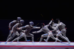 International fencing tournament St. Petersburg Foil 2015. St. Petersburg, Russia - May 3, 2015: Match for 3rd place Italy vs France during 41th International Royalty Free Stock Photo