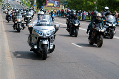 International Festival of bikers. Biker parade through the streets of the city of Brest. 30 May 2015 Brest Royalty Free Stock Image