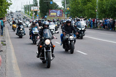 International Festival of bikers. Biker parade through the streets of the city of Brest. 30 May 2015 Brest Royalty Free Stock Images