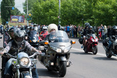 International Festival of bikers. Biker parade through the streets of the city of Brest. 30 May 2015 Brest Stock Photos