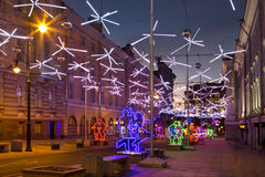 International Festival Christmas light, Moscow, street B.Dmitrovka Royalty Free Stock Photography