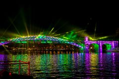 International Festival Circle of Light. Laser video mapping show on the bridge in Moscow, Russia royalty free stock photos