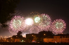 International festival of fireworks in Moscow. City at night. Summer time Stock Photo