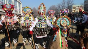 International Festival of Masquerade Games Surva in Pernik stock footage