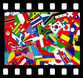 International film. Movie film icon showing flags from all over the world. Simple concept graphic Stock Photo