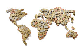 International finance. Global money map. World map made of money coins  on white background Royalty Free Stock Image