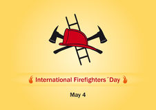 International Firefighters Day. Vector illustration Firefighters Day. Orange background with fire fighting equipment Royalty Free Stock Photo