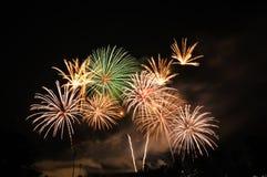 International Fireworks contest at Chiangmai. Fireworks festival at 700th Anniversary Chiangmai sport complex Chiangmai province Stock Photo