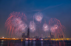 International Fireworks Festival. At the 63 Building in Seoul,South Korea Royalty Free Stock Image