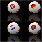 International flag on 3d football. For background football 2012 Group B Stock Images