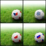 International flag on 3d football. For background football 2012 Group A Royalty Free Stock Photos