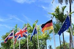 International flag blue sky Stock Photos