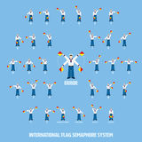 International Flag Semaphore System Vector Infographic. Vector illustration of sailors singling international flag semaphore alphabetic system. All objects Royalty Free Stock Images