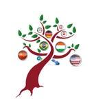 International flag tree illustration design. Over a white background Stock Photography